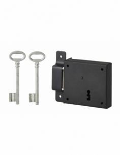 Serrure horizontale en applique à clé pour porte de cave, pêne seul, gauche, axe 50mm, 85x76mm, noir, 2 clés - THIRARD Serrur...