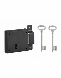 Serrure horizontale en applique à clé pour porte de cave, pêne seul, droite, axe 50mm, 85x76mm, noir, 2 clés - THIRARD Serrur...