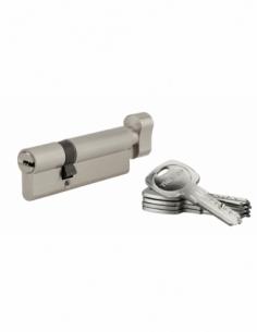Cylindre de serrure à bouton Tiger 6, 60Bx30mm, nickel, anti-arrachement, anti-perçage, 5 clés - THIRARD Cylindre à bouton