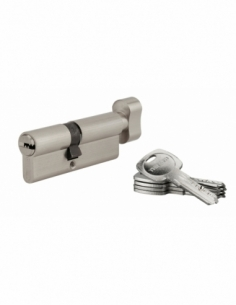 Cylindre de serrure à bouton Tiger 6, 45Bx35mm, nickel, anti-arrachement, anti-perçage, 5 clés - THIRARD Cylindre à bouton