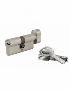 Cylindre de serrure à bouton Tiger 6, 35Bx35mm, nickel, anti-arrachement, anti-perçage, 5 clés - THIRARD Cylindre à bouton