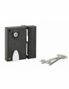 Serrure verticale en applique à clé à fouillot pour portail, droite, axe 40mm, 70x110mm, noir, 2 clés - THIRARD Serrure en ap...