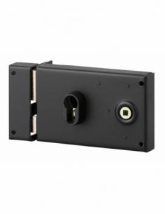 Boitier de serrure horizontale en applique double entrée à fouillot pour entrée, gauche, axe 53mm, 140x88mm, noir - THIRARD S...