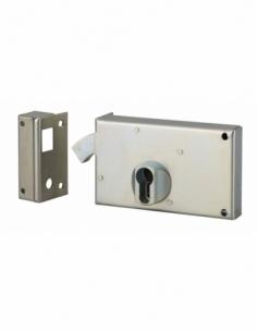 Boitier de serrure horizontale en applique double entrée à crochet pour portail, gauche, axe 60mm, 140x83mm, zingué - THIRARD...