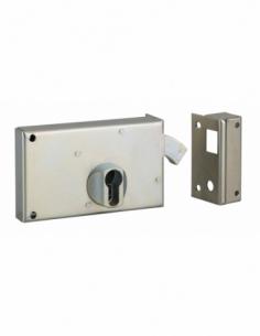 Boitier de serrure horizontale en applique double entrée à crochet pour portail, droite, axe 60mm, 140x83mm, zingué - THIRARD...