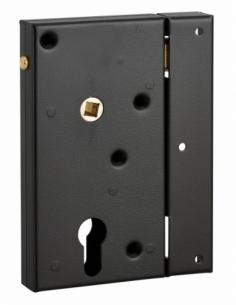 Boitier de serrure en applique double entrée à fouillot pour portail bois, réversible, axe 45mm, 80x150mm, noir - THIRARD Ser...