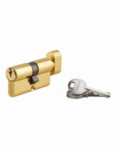 Cylindre de serrure à bouton Ecopro, 30x30mm, aluminium, anti-arrachement, 3 clés, nikel - THIRARD Cylindre de serrure