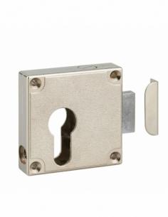 Boitier de serrure de meuble Universel en applique pour porte d'ameublement, axe 21.5mm, 50x60mm, nickelé - THIRARD Serrure e...