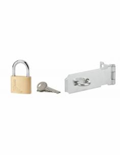 Kit porte-cadenas pour coffres et portes, 100mm, zingué + cadenas 40mm - THIRARD Cadenas