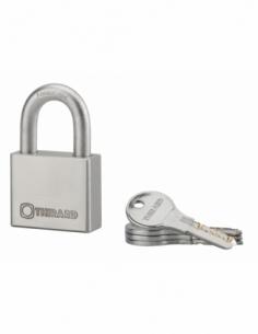 Cadenas à clé Rinox, inox, extérieur, anse inox, 50mm, 4 clés - THIRARD Cadenas à clé