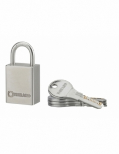 Cadenas à clé Rinox, inox, extérieur, anse inox, 30mm, 4 clés - THIRARD Cadenas à clé