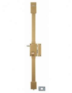 Serrure en applique Targa à tirage pour porte d'entrée, droite, 3 pts, cylindre Ø23mm, axe 45mm, bronze, 4 clés - THIRARD Ser...