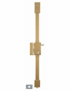 Serrure en applique Targa à tirage pour porte d'entrée, gauche, 3 pts, cylindre Transit2 30x65mm, axe 45mm, or, 4 clés - THIR...