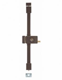Serrure en applique Horga à tirage pour porte d'entrée, gauche, 3 pts, Transit2 30x65mm, axe 70mm, marron, 4 clés - THIRARD S...