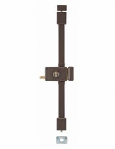 Serrure en applique Horga à tirage pour porte d'entrée, droite, 3 pts, Transit2 30x65mm, axe 70mm, marron, 4 clés - THIRARD S...