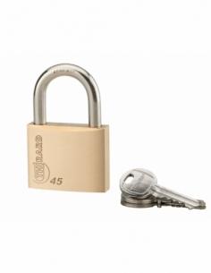 Cadenas à clé Type 1, laiton, intérieur, anse acier, 45mm, 3 clés - THIRARD Cadenas à clé