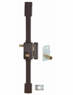 Serrure en applique Beluga A2P* à tirage pour entrée, droite, 3pts, Transit2 Ø 23mm, axe 45mm, marron, 4 clés - THIRARD Serru...