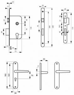 Garniture serrure encastrable à cylindre + ensemble poignées Leto, axe 50mm, bouts ronds, 3 clés - THIRARD Serrure encastrable