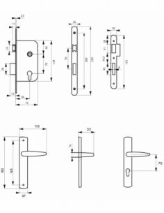 Garniture serrure encastrable à cylindre + ensemble poignées Ares, axe 50mm, bouts ronds, 3 clés - THIRARD Serrure encastrable