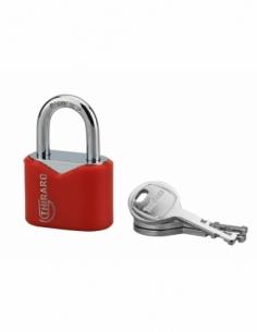 Cadenas à clé Ruby Color, acier, intérieur, anse acier, 32mm, 3 clés - THIRARD Cadenas à clé