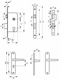 Garniture serrure encastrable à cylindre + ensemble poignées Vesta, axe 50mm, bouts ronds, 3 clés - THIRARD Serrure encastrable