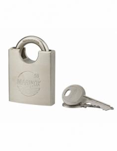 Cadenas à clé Marinox, inox, exérieur, anse protégée inox, 50mm, 2 clés - THIRARD Cadenas à clé
