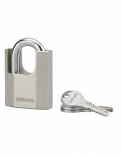 Cadenas à clé Octo-P, acier, chantier, anse protégée acier, 60mm, 3 clés - THIRARD Cadenas à clé