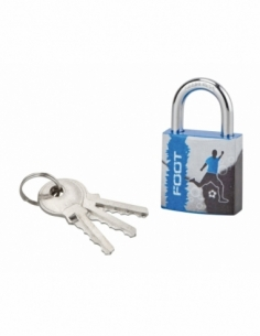 Cadenas à clé Line Sport Foot, acier, intérieur, anse acier, 30mm, 3 clés - THIRARD Cadenas à clé