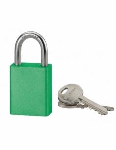 Cadenas à clé Cobble, aluminium, extérieur, anse inox, 38mm, vert, 2 clés - THIRARD Cadenas à clé