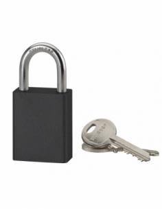 Cadenas à clé Cobble, aluminium, extérieur, anse inox, 38mm, noir, 2 clés - THIRARD Cadenas à clé