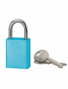 Cadenas à clé Cobble, aluminium, extérieur, anse inox, 38mm, bleu, 2 clés - THIRARD Cadenas à clé