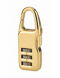 Cadenas à combinaison Swish, 3 chiffres, intérieur, anse acier, 21mm, doré - THIRARD Cadenas à code