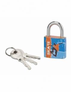 Cadenas à clé Line Sport Skate, acier, intérieur, anse acier, 30mm, 3 clés - THIRARD Cadenas à clé