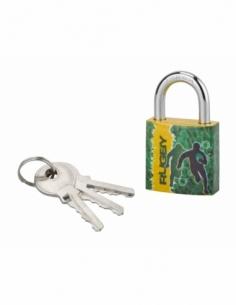 Cadenas à clé Line Sport Rugby, acier, intérieur, anse acier, 30mm, 3 clés - THIRARD Cadenas à clé