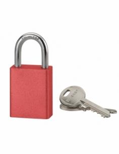 Cadenas à clé Cobble, aluminium, extérieur, anse inox, 38mm, rouge, 2 clés - THIRARD Cadenas à clé