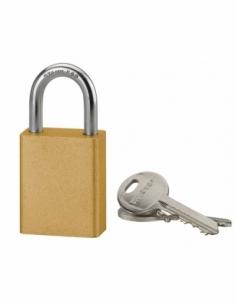 Cadenas à clé Cobble, aluminium, extérieur, anse inox, 38mm, jaune, 2 clés - THIRARD Cadenas à clé
