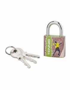 Cadenas à clé Line Sport Tennis, acier, intérieur, anse acier, 30mm, 3 clés - THIRARD Cadenas à clé