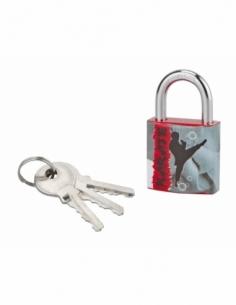 Cadenas à clé Line Sport Karaté, acier, intérieur, anse acier, 30mm, 3 clés - THIRARD Cadenas à clé