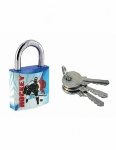 Cadenas à clé Line Sport Hockey, acier, intérieur, anse acier, 30mm, 3 clés - THIRARD Cadenas à clé
