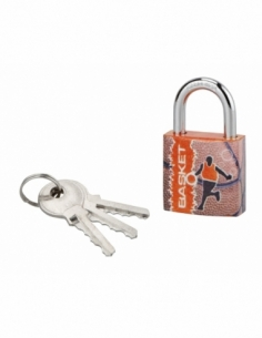 Cadenas à clé Line Sport Basket, acier, intérieur, anse acier, 30mm, 3 clés - THIRARD Cadenas à clé