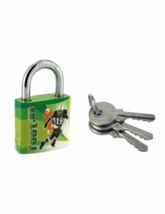 Cadenas à clé Line Sport Foot US, acier, intérieur, anse acier, 30mm, 3 clés - THIRARD Cadenas à clé