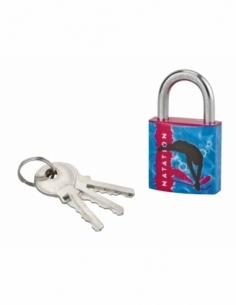 Cadenas à clé Line Sport Natation, acier, intérieur, anse acier, 30mm, 3 clés - THIRARD Cadenas à clé
