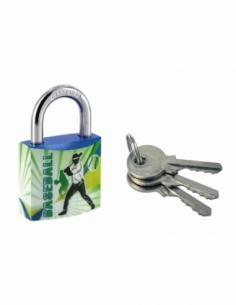 Cadenas à clé Line Sport Base ball, acier, intérieur, anse acier, 30mm, 3 clés - THIRARD Cadenas à clé