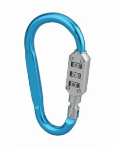 Cadenas mousqueton à combinaison Funny, 3 chiffres, intérieur, anse acier, bleu - THIRARD Cadenas à code