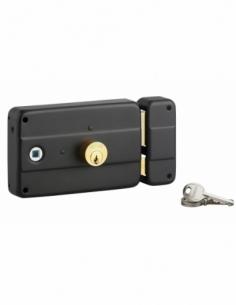 Lot de 30 serrures en applique double entrée à fouillot pour entrée, droite, 140x90mm, axe 60mm, noir, 3 clés/serrure - THIRA...