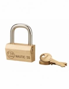 Cadenas à clé Nautic compatible organigramme, laiton, intérieur, anse acier, 55mm, 3 clés - THIRARD Cadenas à clé