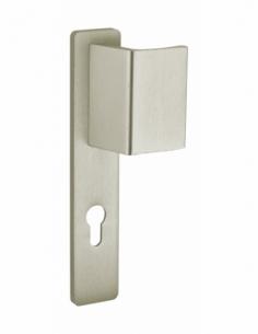 Poignée pour porte d'entrée palière renforcée Picardie trou de cylindre, carré 7mm, entr'axes 195mm, champagne - THIRARD Poig...