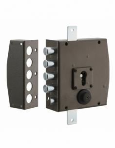 Boitier de serrure en applique à double entrée pour porte d'entrée, 154x140mm, 3 pts, gauche - THIRARD Serrure en applique