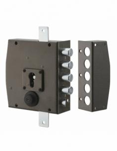 Boitier de serrure en applique à double entrée pour porte d'entrée, 154x140mm, 3 pts, droite - THIRARD Serrure en applique