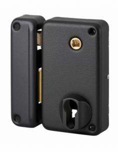 Boitier de serrure verticale en applique double entrée à fouillot pour entrée, gauche pouss., axe 45mm, 75x130mm, noir - THIR...